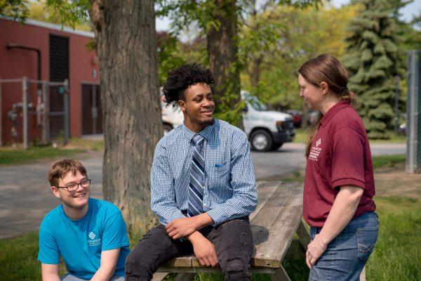 Workforce Development at Villa of Hope; 2students speak with a job coach
