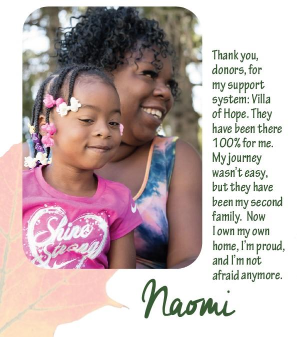 Naomi is grateful to the Villa.