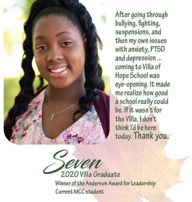 Quote from Seven, 2020 Villa School graduate